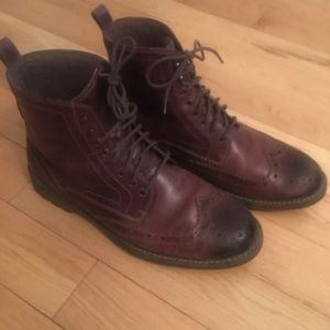 Clarks Men's Brown Leather Wool Lined Boots Shoes
